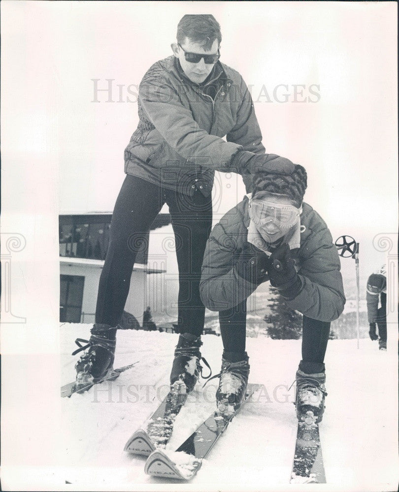 1964 US Olympic Skier Chuck Ferries & Sanse Neish Press Photo - Historic Images