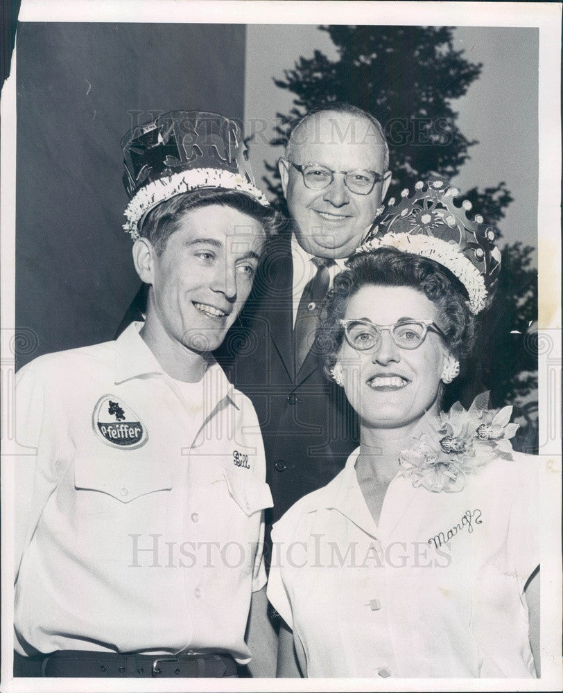 1958 Detroit, Michigan Mayor Miriani & Bowling King & Queen Press Photo - Historic Images