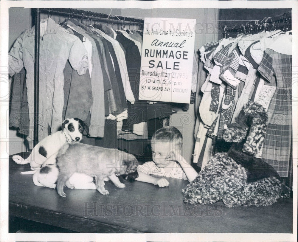 1959 Chicago, IL Anti-Cruelty Society Rummage Sale, James Koval Press Photo - Historic Images