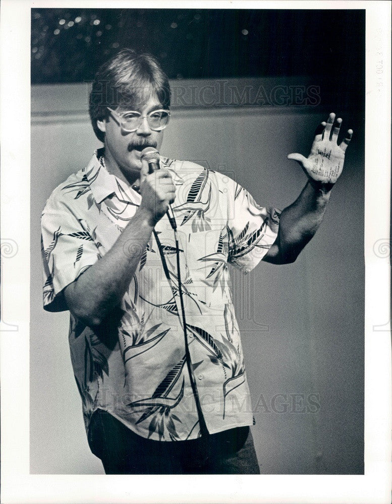 1987 Denver, Colorado Comedian Kevin Fitzgerald at The Atrium Press Photo - Historic Images