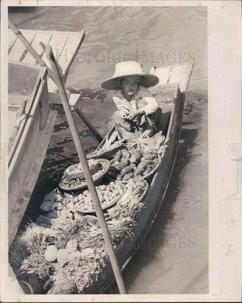 1969 Damnoen Saduak, Thailand Floating Market, Young Vendor on Klong Press Photo - Historic Images