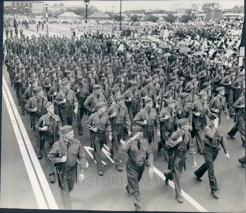 1942 Illinois Reserve Militia Parade at Congress & Michigan Ave Press Photo - Historic Images