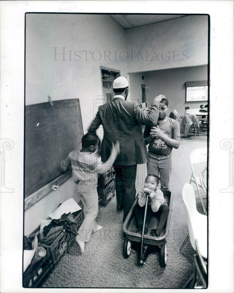 1984 Detroit, Michigan Muslim Imam Talib Karim Press Photo - Historic Images