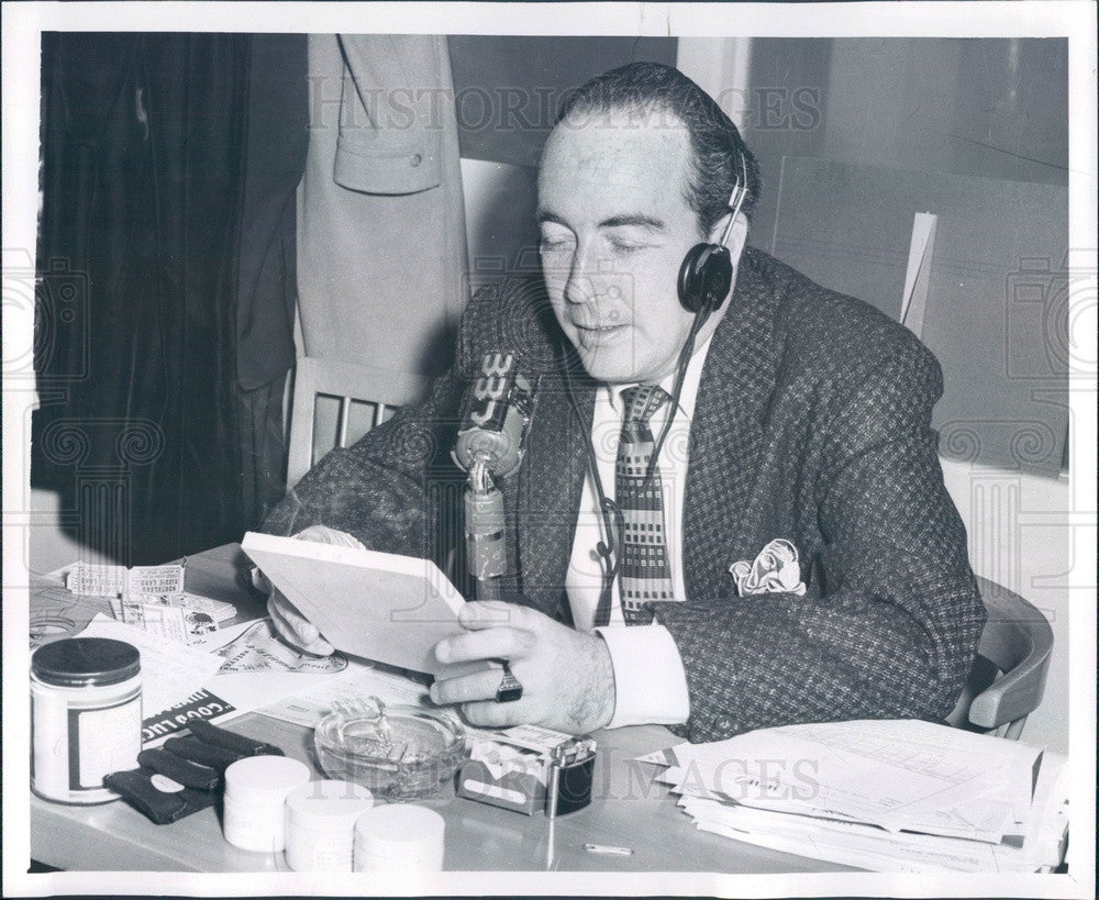 1955 Detroit, Michigan WWJ Emcee Ross Mulholland Press Photo - Historic Images