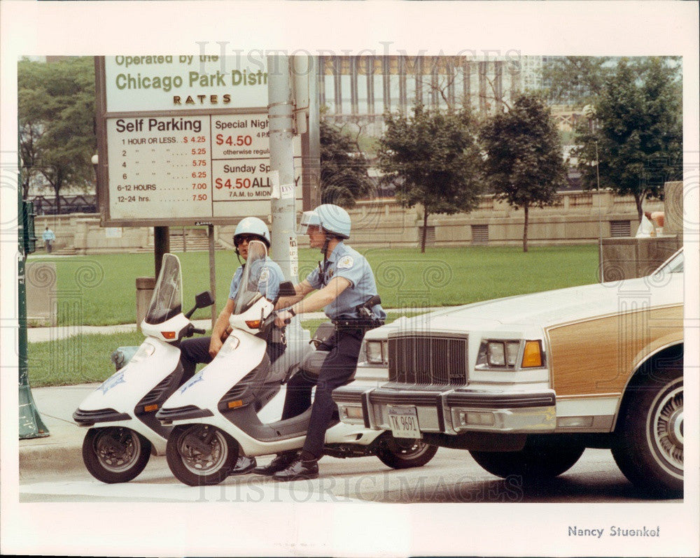 1990 Chicago, Illinois Motorcycle Policemen on Michigan Ave Press Photo - Historic Images