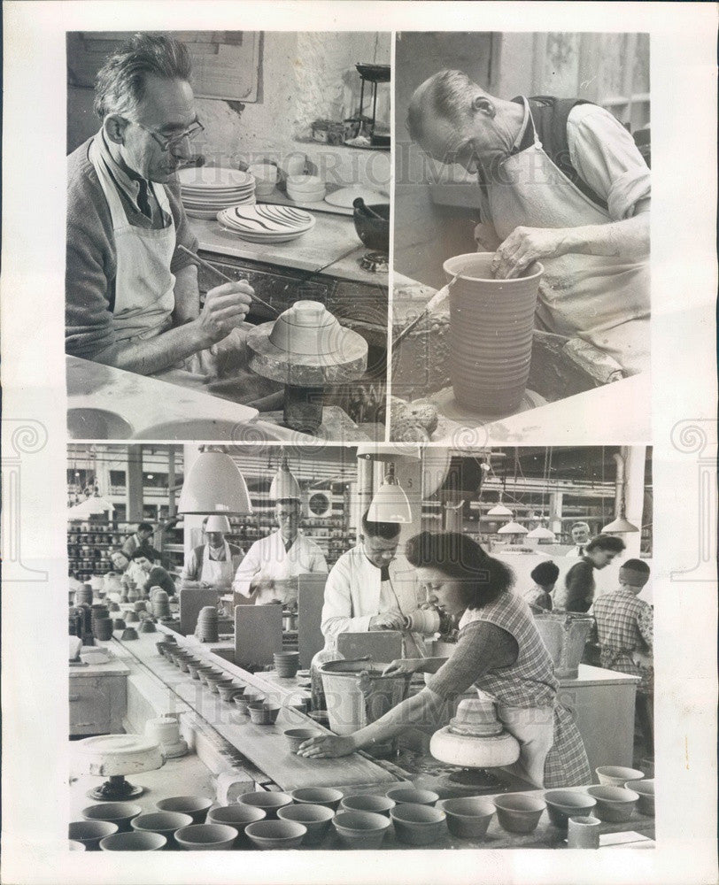 1948 British Pottery Industry, Traditional Craftsmen, Modern Factory Press Photo - Historic Images