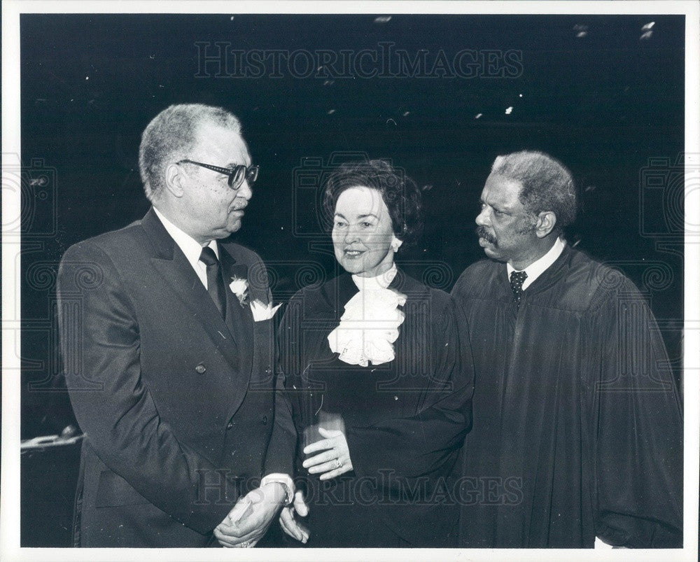 1982 Detroit, MI Supreme Chief Justice Mary Coleman, Mayor Young Press Photo - Historic Images