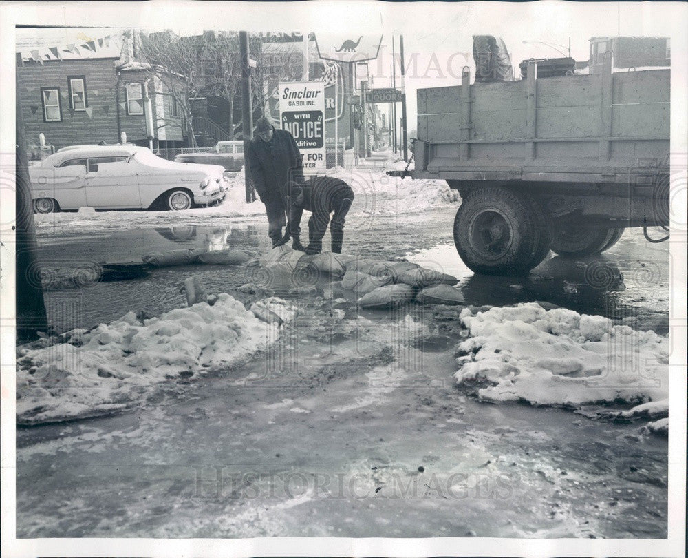 1961 Chicago, Illinois Broken Water Main Flooding at 51st & Hoyne Press Photo - Historic Images