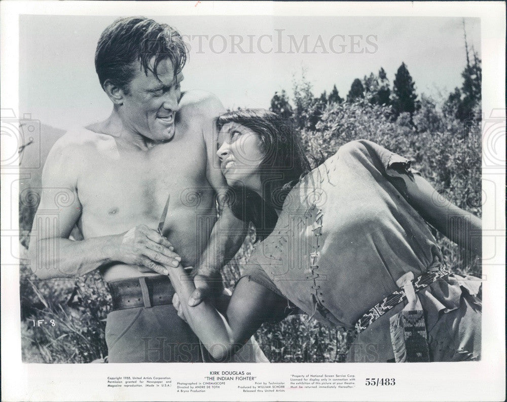 1956 American Hollywood Actor Kirk Douglas & Elsa Martinelli Press Photo - Historic Images