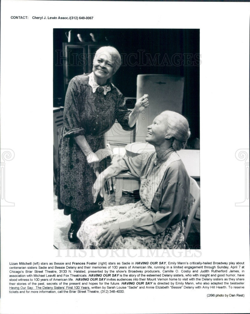 1996 Hollywood Actresses Lizan Mitchell & Frances Foster Press Photo - Historic Images