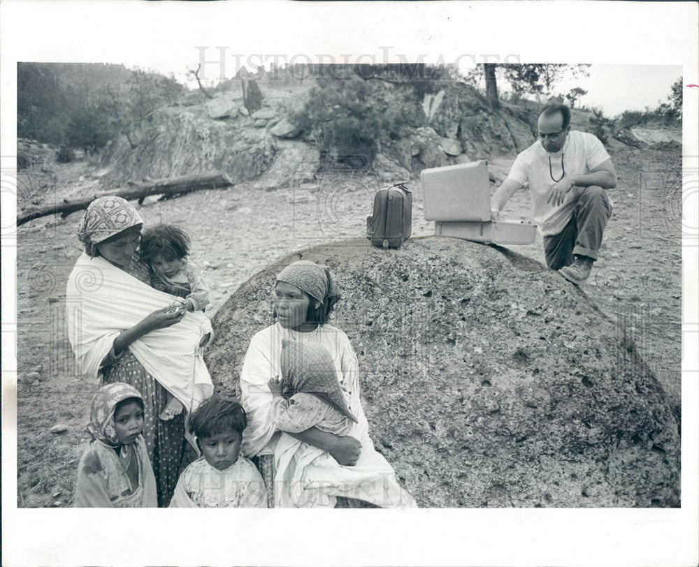 1965 Mexico, Tarahumara Indian Village & Osteopath Dr John Barkay Press Photo - Historic Images