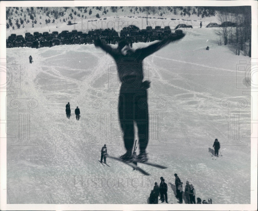 1949 Cadillac, Michigan Caberfae Ski Resort Ski Jumper Press Photo - Historic Images