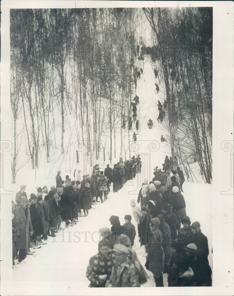 1928 Michigan Tobogganing at Mt McSauba Press Photo - Historic Images