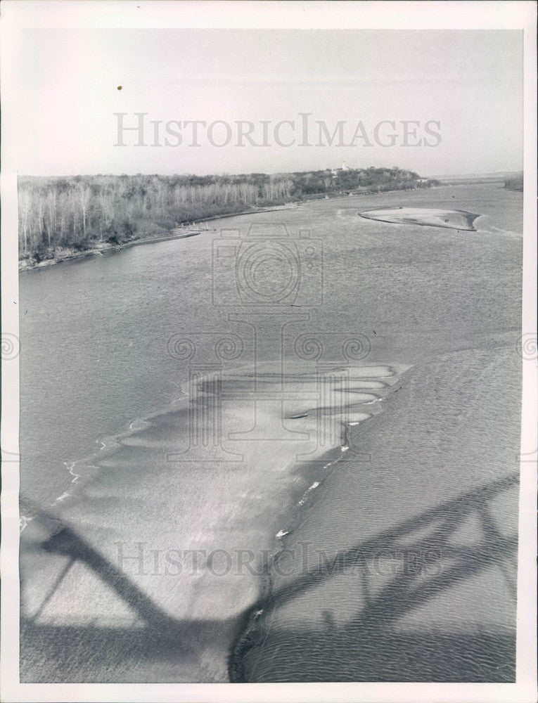 1955 Leavenworth, Kansas Sand Bars in Missouri River Press Photo - Historic Images