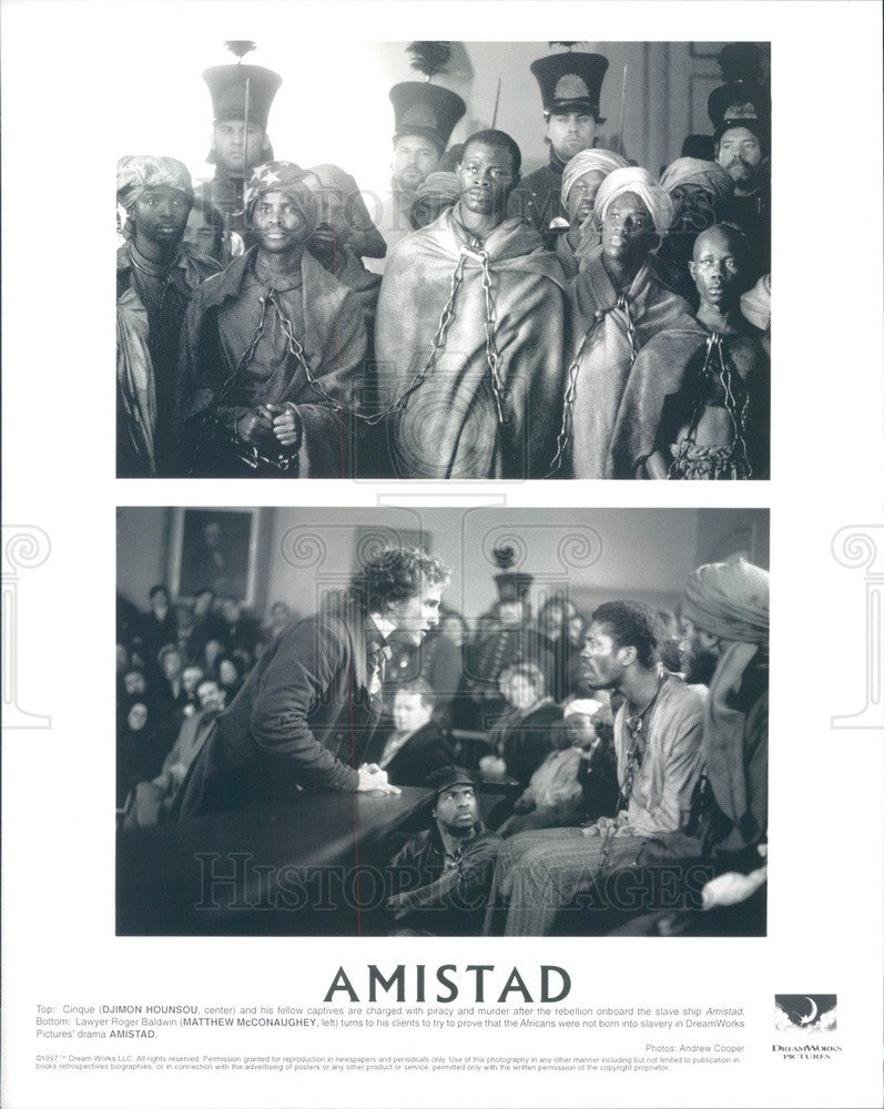1997 Actors Djimon Hounsou & Matthew McConaughey in Amistad Press Photo - Historic Images