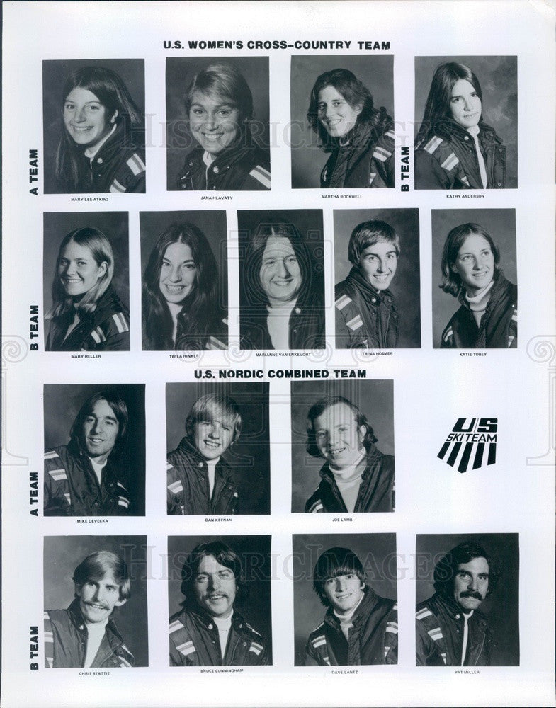 1974 US Women's Cross-Country Ski Team & Nordic Combined Ski Team Press Photo - Historic Images