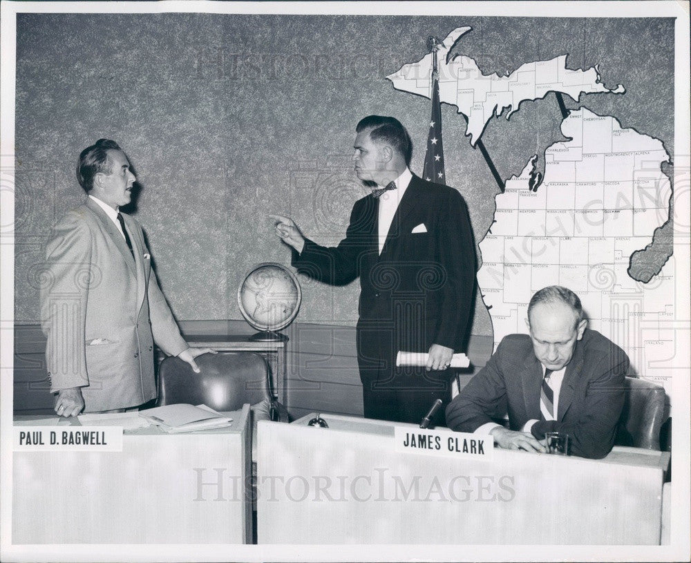 1958 Michigan Governor Mennen Williams, Paul Bagwell, James Clark Press Photo - Historic Images
