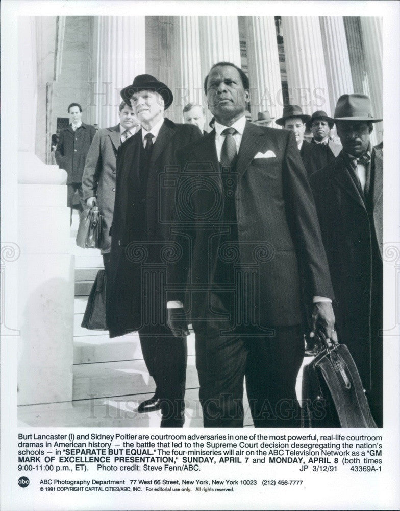 1991 American Hollywood Actors Burt Lancaster & Sidney Poitier Press Photo - Historic Images