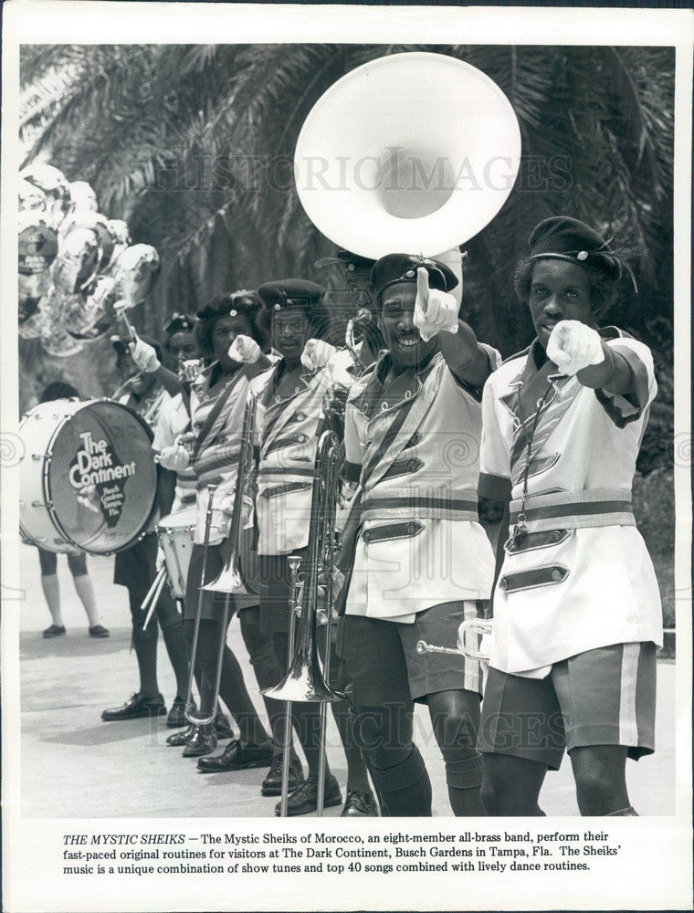 1983 Tampa, FL Busch Gardens Mystique Sheiks of Morocco Brass Band Press Photo - Historic Images