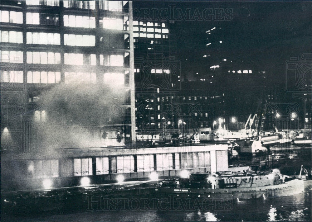 1968 Chicago, Illinois Hartford Plaza Building Fire Press Photo - Historic Images