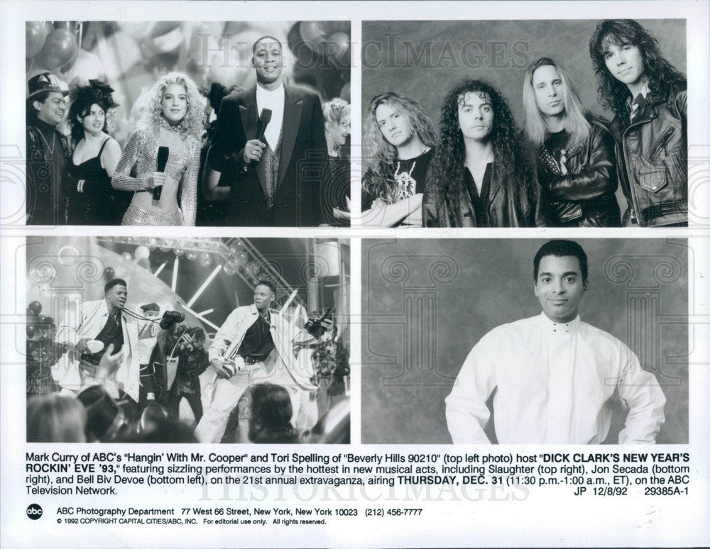 1992 Mary Curry/Tori Spelling Host Dick Clark's New Years Rockin Eve Press Photo - Historic Images