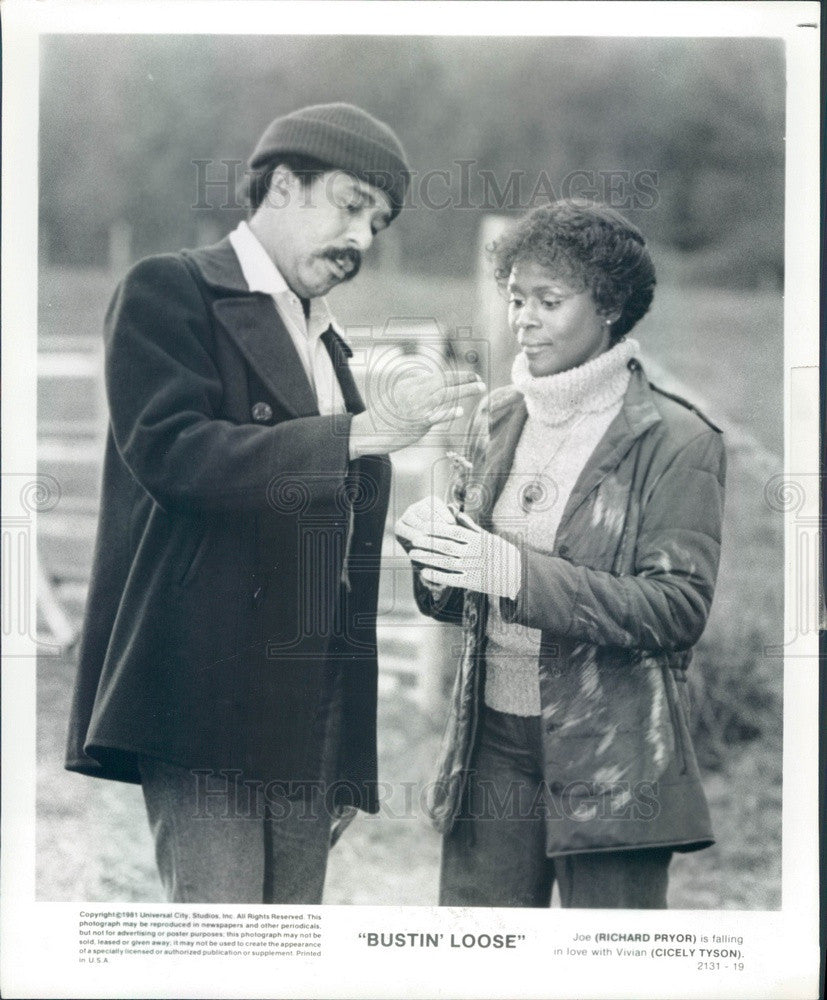 1982 Hollywood Actors Cicely Tyson & Richard Pryor in Bustin Loose Press Photo - Historic Images