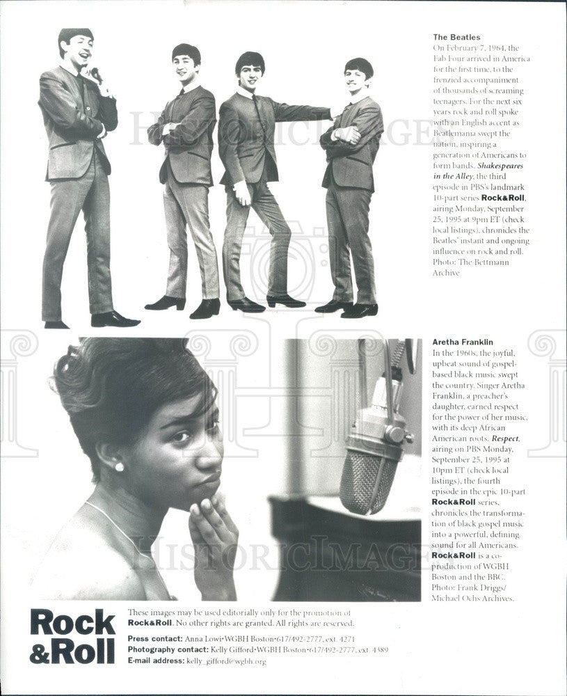 1995 English Rock Band The Beatles/American Singer Aretha Franklin Press Photo - Historic Images