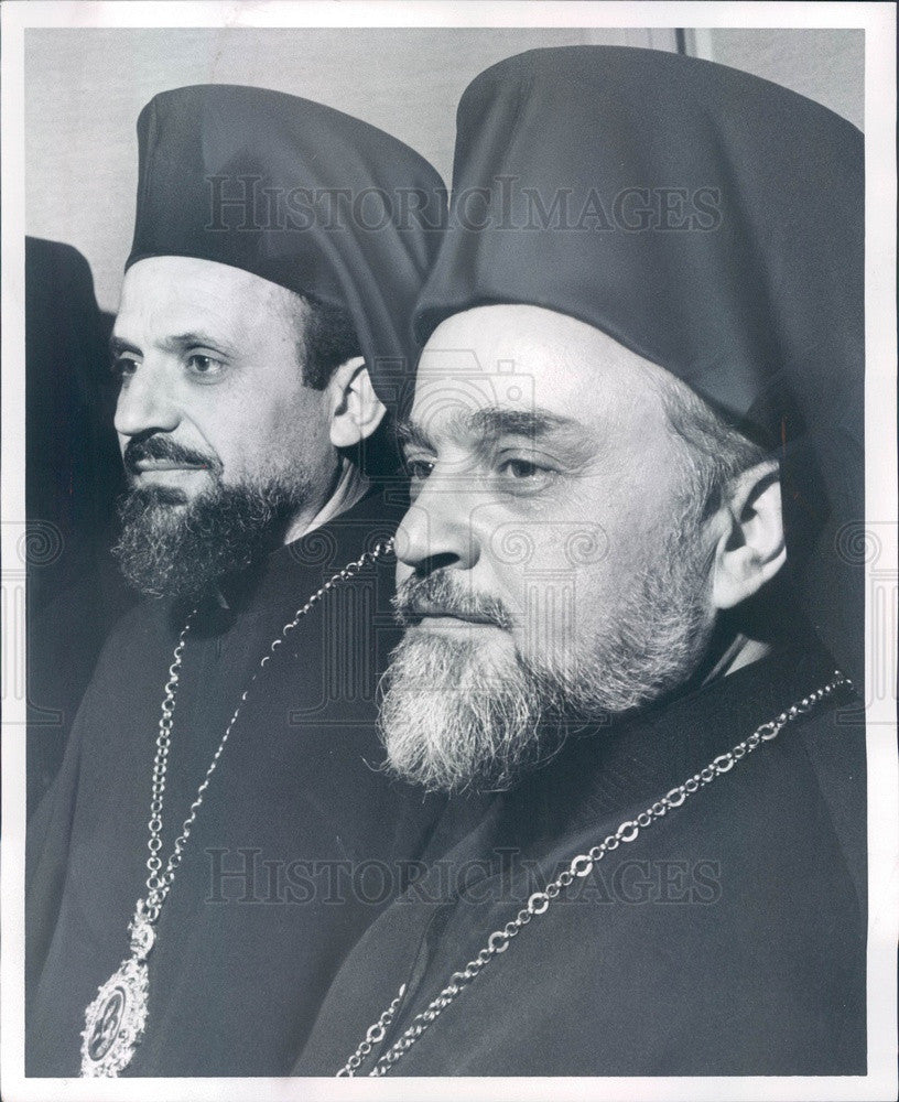 1964 Greek Orthodox Most Rev Iakovos & Most Rev Emilianos Press Photo - Historic Images