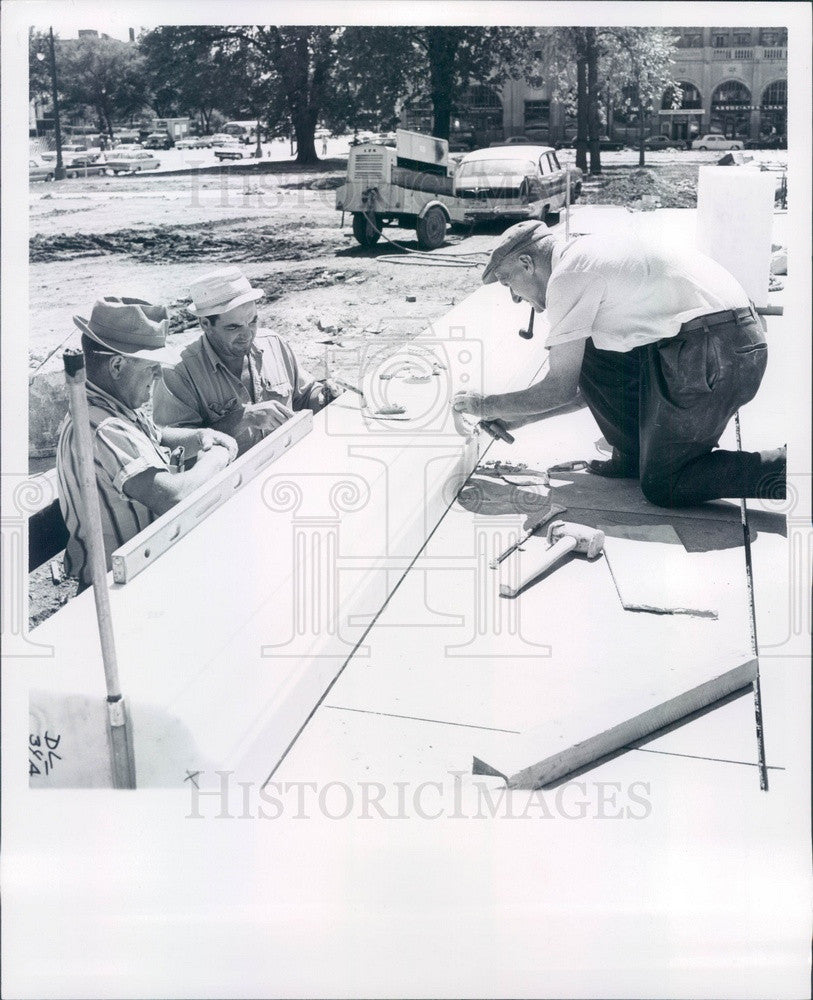 1964 Detroit, Michigan Main Library Construction, Marble Workers Press Photo - Historic Images