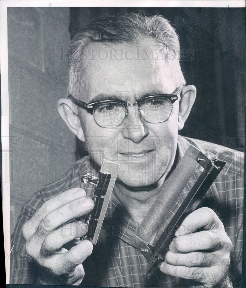 1959 Denver, CO Inventor Clarence Love & Fletching Tool Invention Press Photo - Historic Images