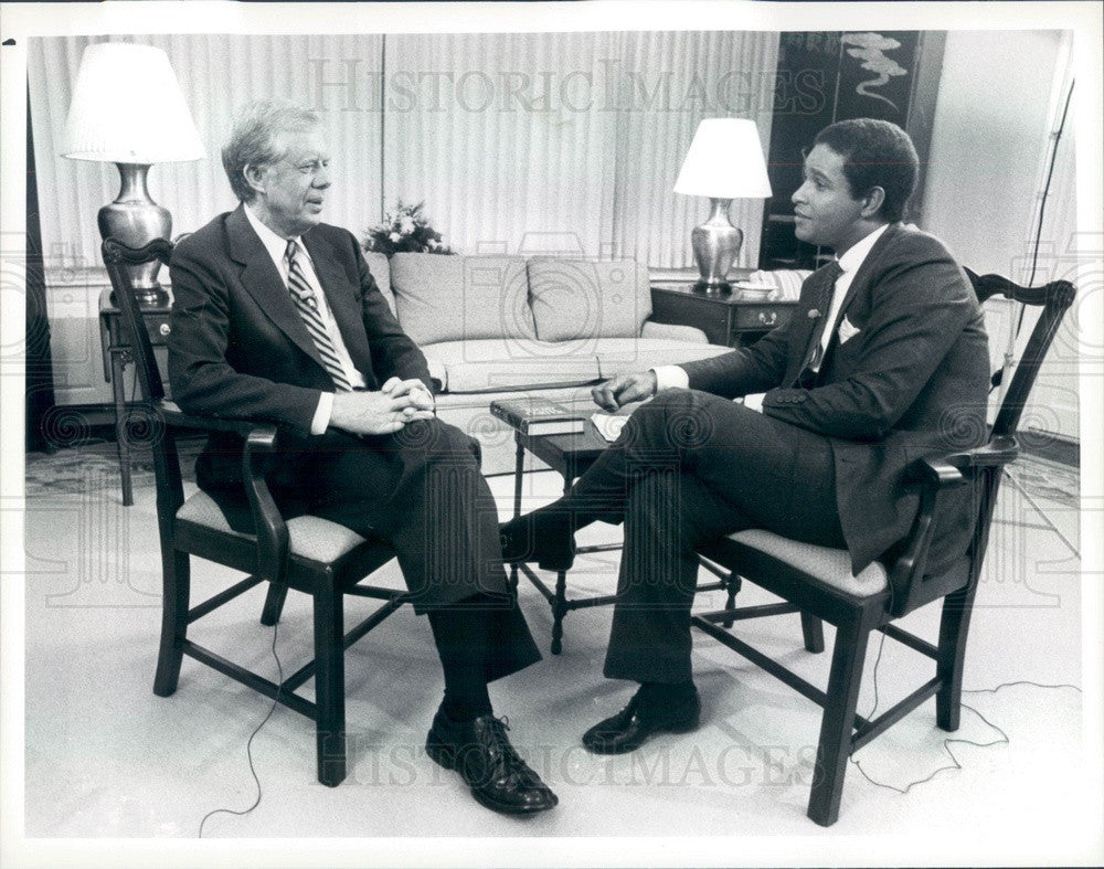 1988 Today Show Host Bryant Gumbel & US President Jimmy Carter Press Photo - Historic Images