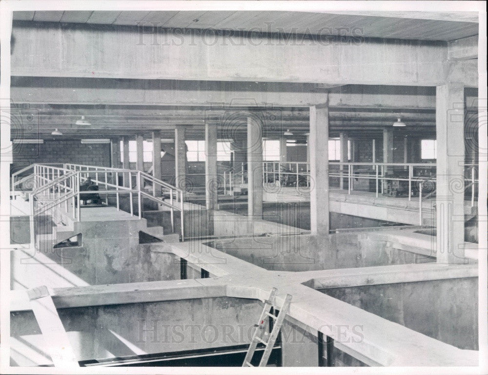 1958 Clearwater Beach, Florida Sewage Treatment Plant Press Photo - Historic Images