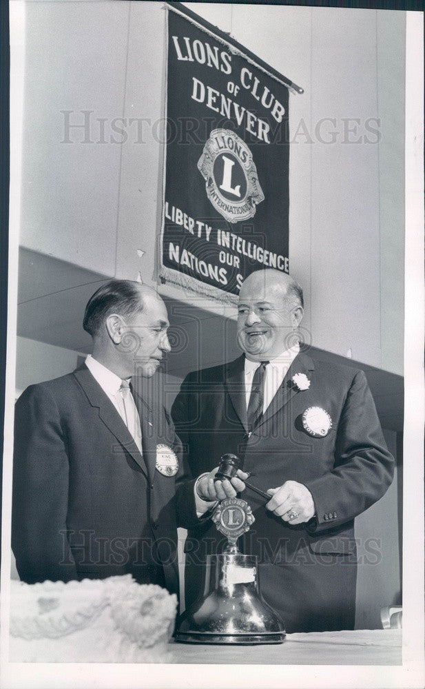 1963 Denver, CO Lions Club Presidents Lloyd King & Keppel Brierly Press Photo - Historic Images