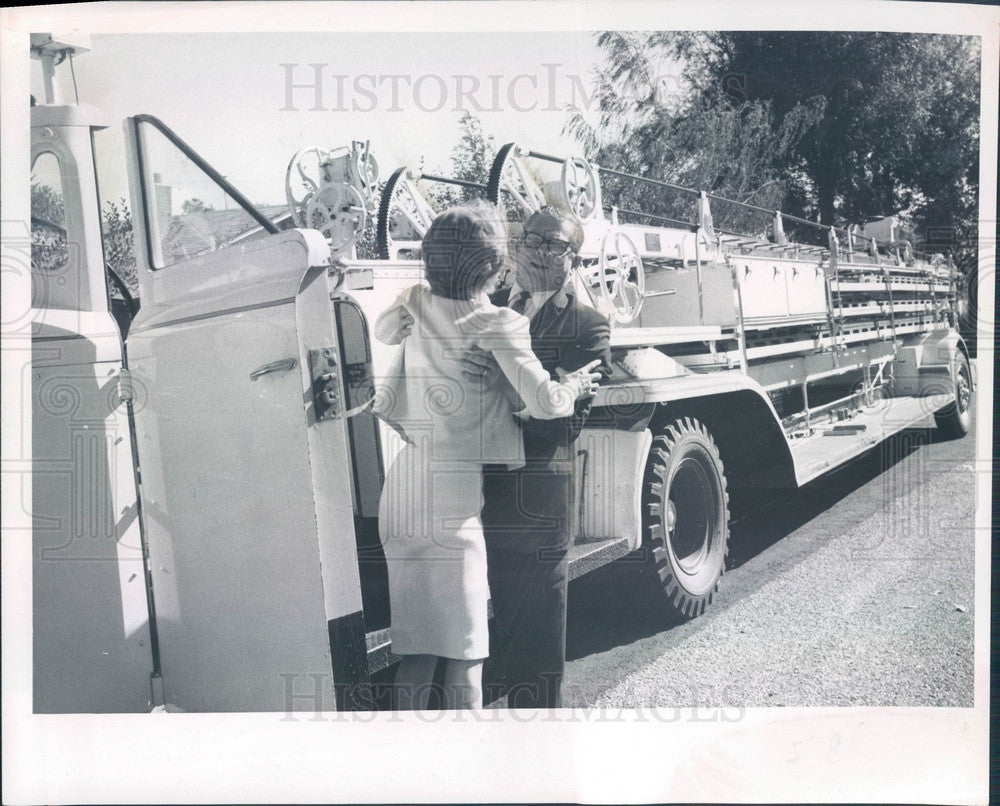 1967 Boulder, CO Mrs Thaddaeus Grahame & Fire Truck Birthday Gift Press Photo - Historic Images