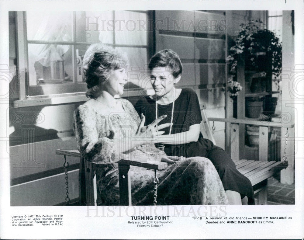 1977 Actors Shirley MacLaine & Anne Bancroft in Turning Point Press Photo - Historic Images