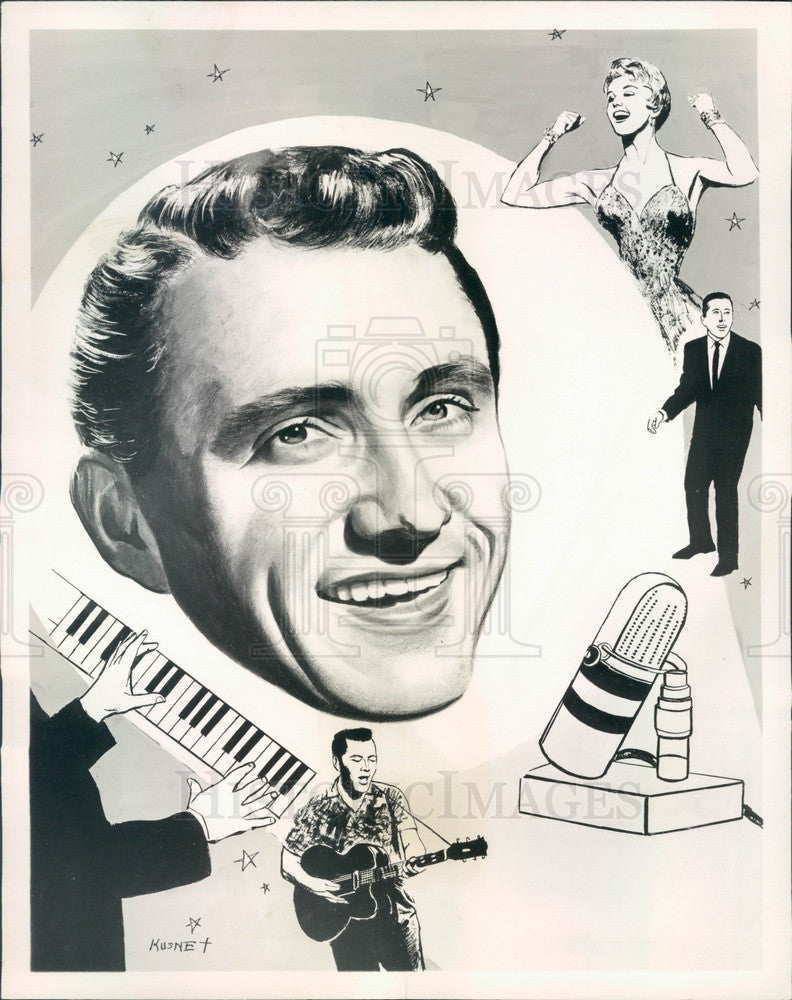 1962 TV Host Merv Griffin Caricature Press Photo - Historic Images