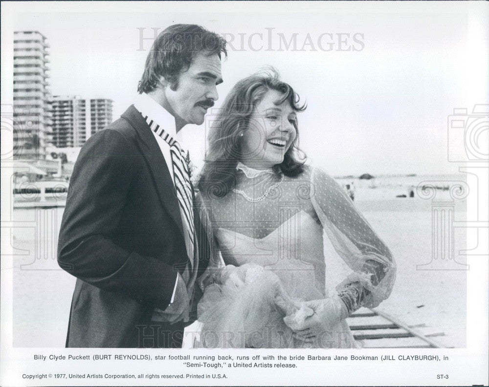 1977 Hollywood Actors Burt Reynolds & Jill Clayburgh in Semi-Tough Press Photo - Historic Images