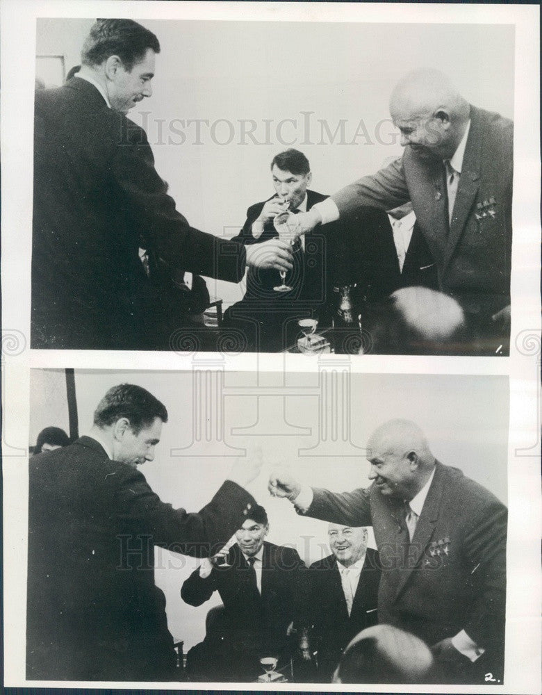 1962 Soviet Premier Nikita Khrushchev, Austrian Chancellor Gorbach Press Photo - Historic Images
