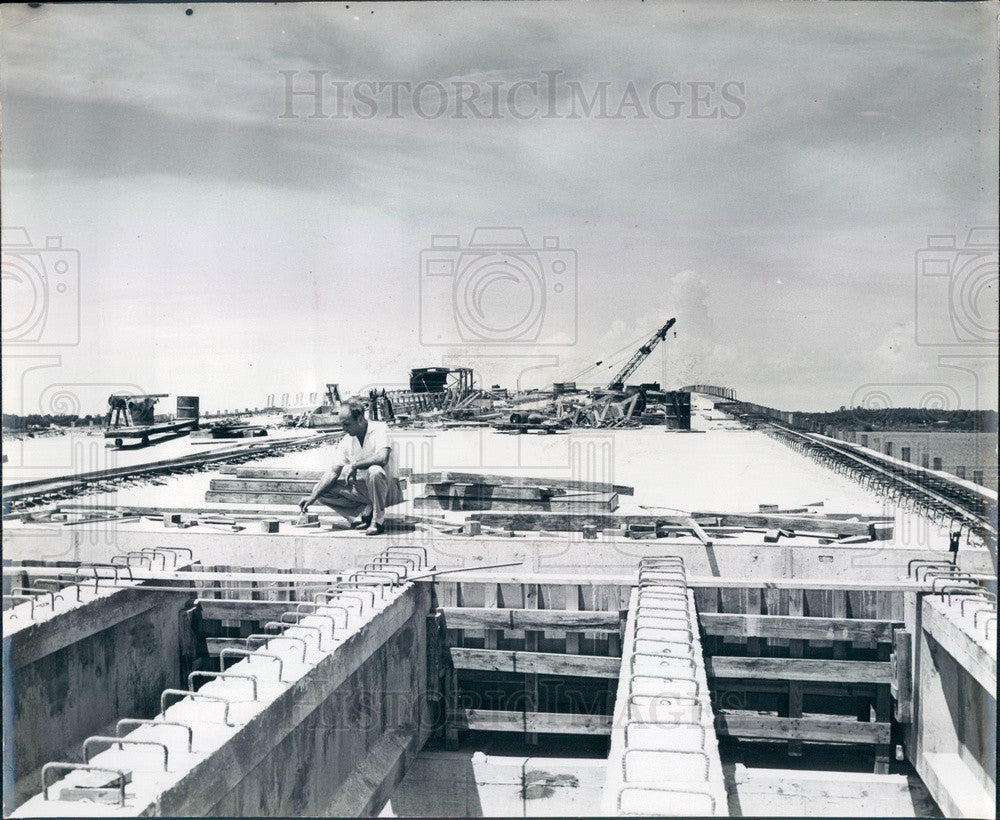 Undated Bradenton, Florida Manatee River Bridge Construction Press Photo - Historic Images