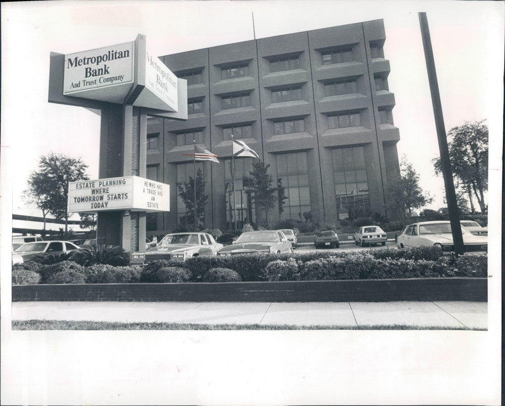 1982 Tampa, Florida Metropolitan Bank and Trust Co, W Cypress St Press Photo - Historic Images