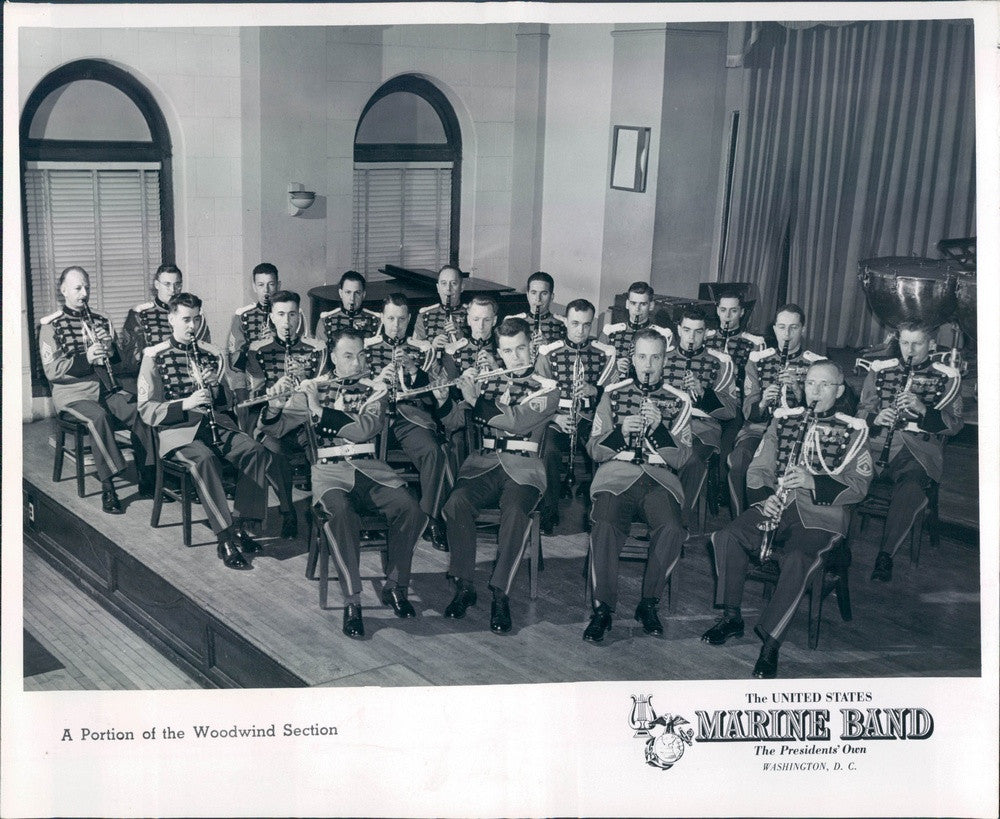 1955 US Marine Corps Band, Woodwind Section Press Photo - Historic Images