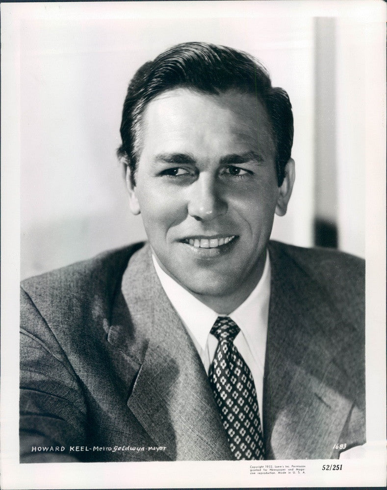 1952 Hollywood Actor & Singer Howard Keel, Star of TV Show Dallas Press Photo - Historic Images