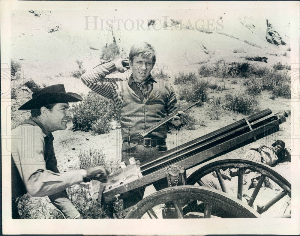 1967 Actors Gary Collins & Dale Robertson on TV Show Iron Horse Press Photo - Historic Images
