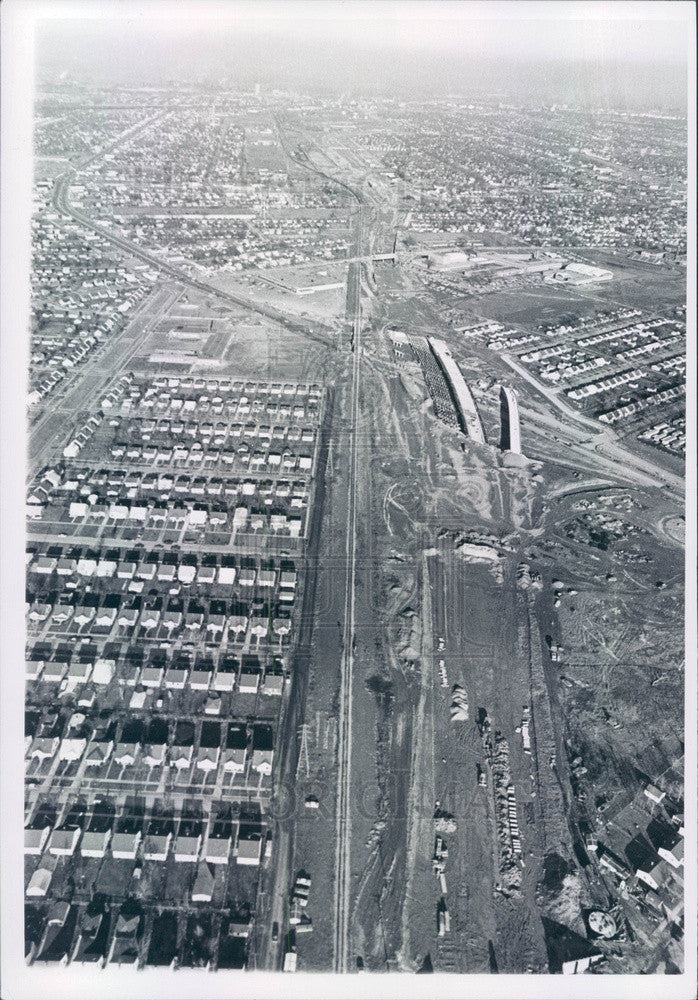 1966 Detroit, Michigan I-75 Seaway Freeway Construction Aerial View Press Photo - Historic Images