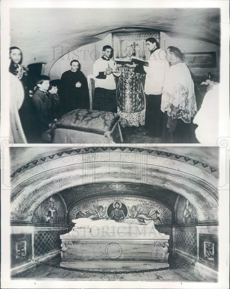 Undated Rome, Pope Pius XI in Final Resting Place, Cardinal Schuster Press Photo - Historic Images