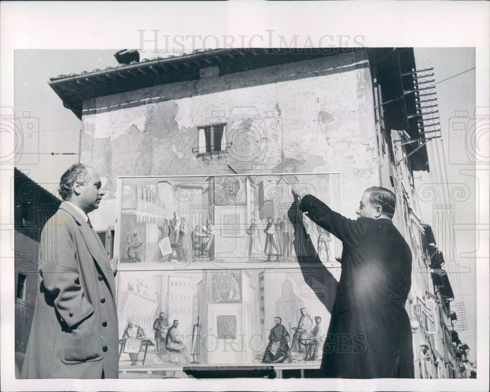 1954 Florence, Italy Artist Mario Romoli Paints Fresco Press Photo - Historic Images