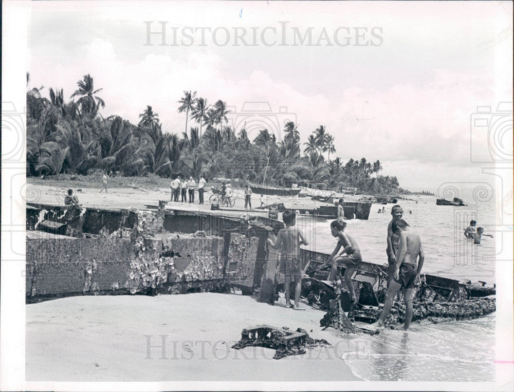 1964 Leyte Island, Philippines WWII Vehicle Remains on Red Beach Press Photo - Historic Images