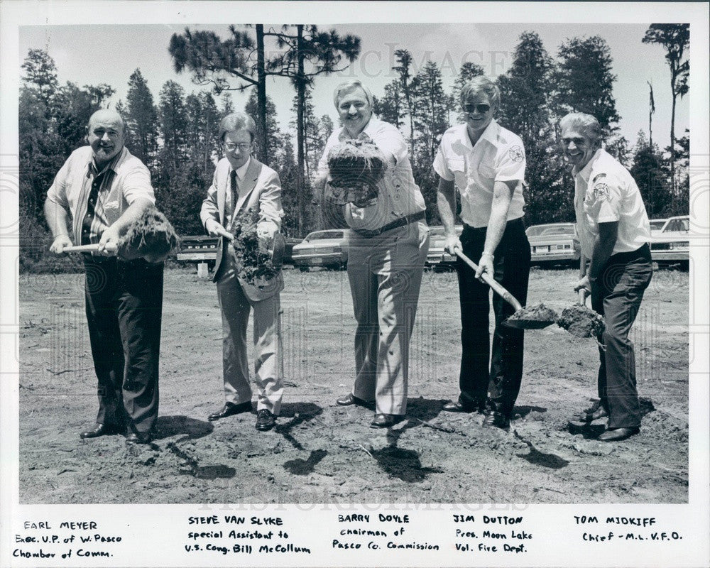 1981 FL, Moon Lake Fire Station Groundbreaking, Chief Tom Midkiff Press Photo - Historic Images