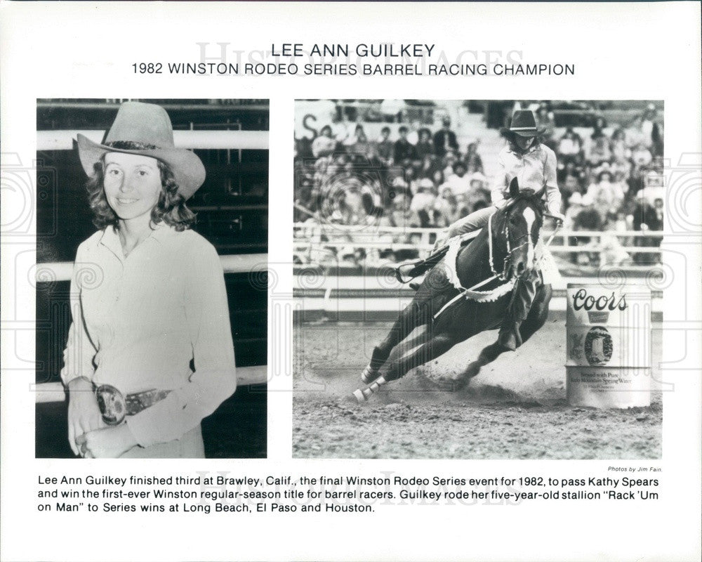 1982 Winston Rodeo Series Barrel Racing Champion Lee Ann Guilkey Press Photo - Historic Images