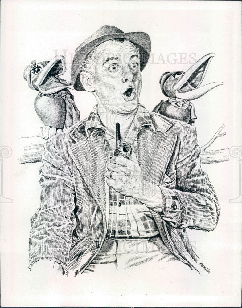 1959 Hollywood Actor Art Carney Caricature Press Photo - Historic Images